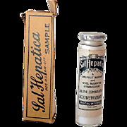 Never Opened Sample Glass Bottle Sal Hepatica in Box NOS