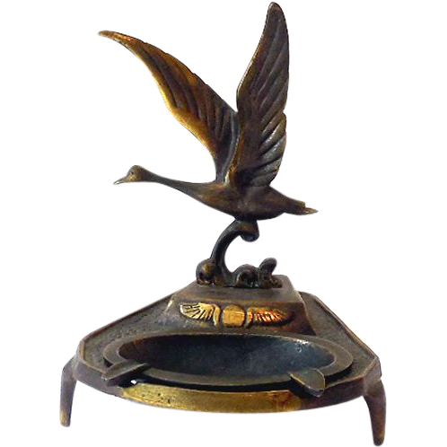 1920s-30s Art Deco Art Nouveau Metal Ashtray With Flying Duck