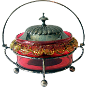 Gorgeous Victorian Lidded Cranberry Glass Bowl In Silver Holder