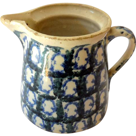 Mid 1800s Ironstone Spongeware Pottery Milk Pitcher