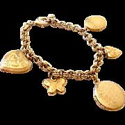 Vintage Gold Tone Charm Bracelets With Lockets