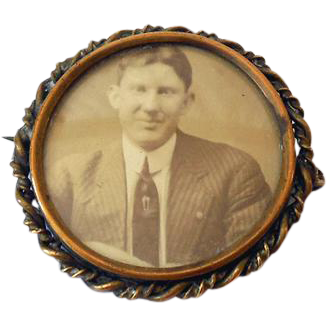 1920s Picture Brooch Handsome Gentleman