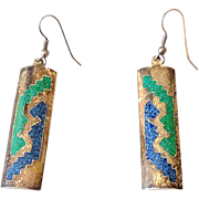Alpaca Silver Indian Earrings With Inlaid Turquoise & Lapiz