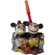 1930s Bisque Mickey & Minnie Mouse & Pluto Toothbrush Holder