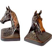 Gorgeous Vintage Bronzed Metal Horse Head Bookends