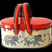 Scarce  Tin Litho Picnic Basket Style Lunchbox Circus