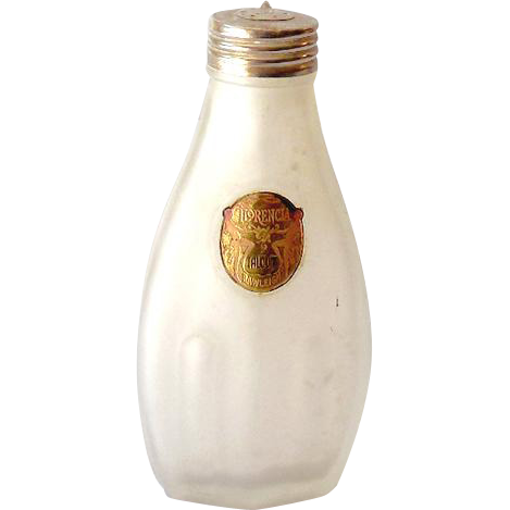 Rare 1920s Art Nouveau Frosted Talcum Powder Bottle