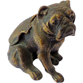 Vintage Bronze Bulldog Metal Figure