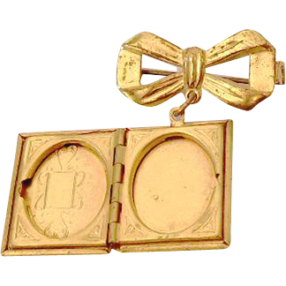 Vintage Book Style Locket Brooch With Bow