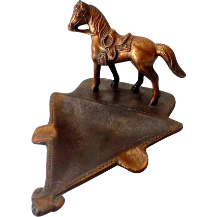 Vintage Copper Finished Heavy Metal Horse Ashtray