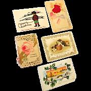 (5) Vintage Christmas Card and Postcards