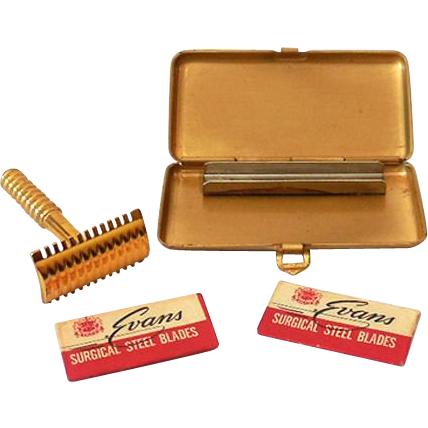 Vintage Miniature Travel Razor in Fancy Case