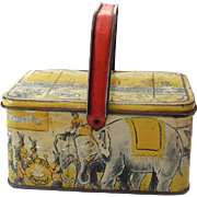 Old Tin Litho Picnic Basket Style Lunchbox Circus Parade