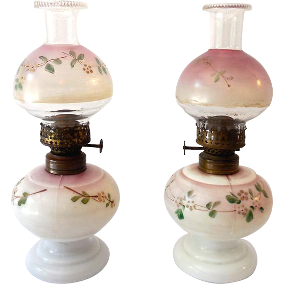 Rare Matched Pair Nellie Bly Hand Painted Antique Miniature Oil Lamps