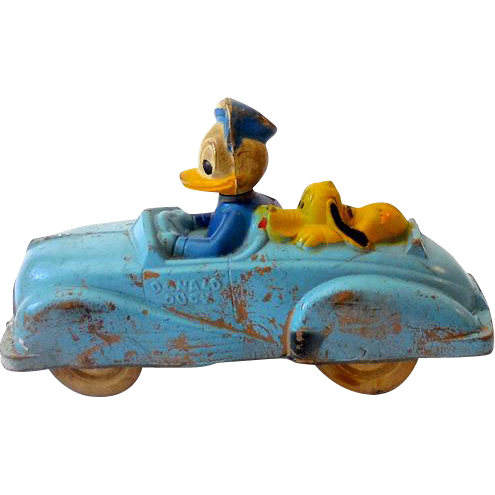 Vintage 1930s-40s Disney Pluto & Donald Duck In  Rubber Car