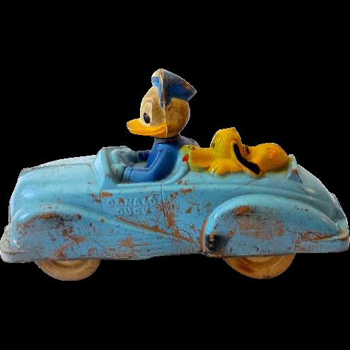 Vintage 1930s-40s Disney Pluto & Donald Duck In  Rubber Car