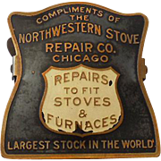 1920s-30s Brass Appliance Advertising Clip Northwestern Stove Repair