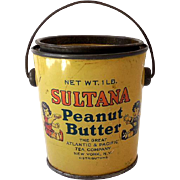 Vintage Sultana Peanut Butter Tin With Lid and Handle