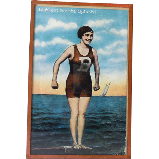 1917 Bathing Beauty Postcard in Glass Frame