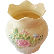 Lovely Belleek Ireland Basket Style Vase With Pink Flowers
