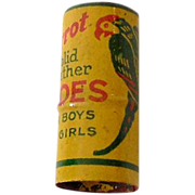 Unusual Round Poll Parrot Tin Litho Advertising Whistle