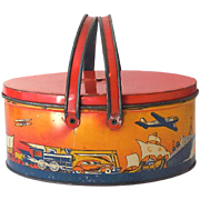 Ohio Art Tin Litho Picnic Basket Style Lunchbox Cars Trains Airplanes Etc