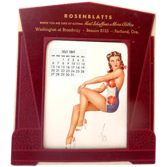 1947 Vargas Pin Up Girl Advertising Desk Calendar Salesmans Sample