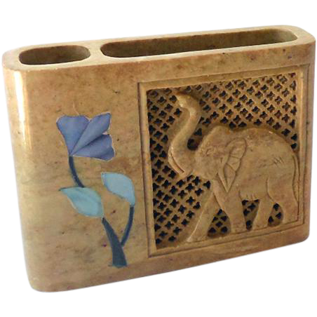 Carved Stone Note Pad and Pen Holder Elephant