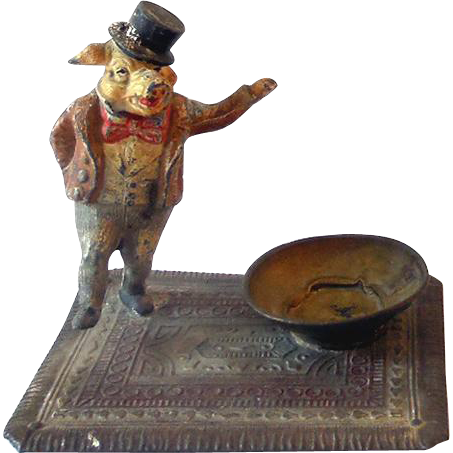 Rare 1920s Figural Metal Bobblehead Ashtray Well Dressed Gentleman Pig