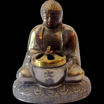 Vintage Metal Sitting Buddha Incense Burner