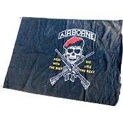 Large Nylon Army Airborne Flag Skull & Crossed Rifles
