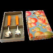 1930s Child's Spoon & Fork Set in Box Bakelite Handles