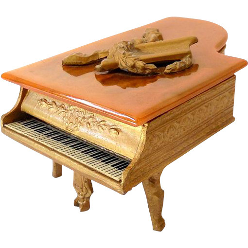 Ornate Grand Piano Swiss Music Box Jewelry Trinket Box Bakelite Top