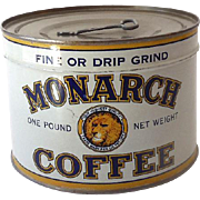 1930s-40s UNOPENED Key Wind Tin Monarch Coffee Full Excellent Condition
