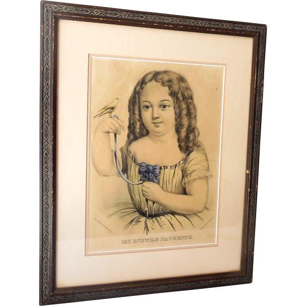 "Large 1870s Currier & Ives Folio Print ""My Little Favorite"" Little Girl & Bird"