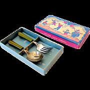 Vintage 1930s Child's Spoon & Fork Set in Box Green Bakelite Handles