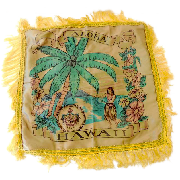 1940s Hawaiian Islands Souvenir Satin Pillow Cover
