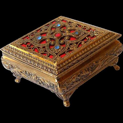 Lovely Vintage Jeweled Casket Style Vanity Box