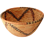 LARGE Hand Made American Indian Bowl Shape Basket