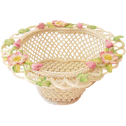 "Limited Edition Belleek Ireland  ""Wild Irish Rose"" Basket Bowl"