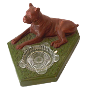 1940s Chalkware Boxer Dog Ashtray