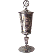 Tall Ornate Antique Silverplated Covered Urn