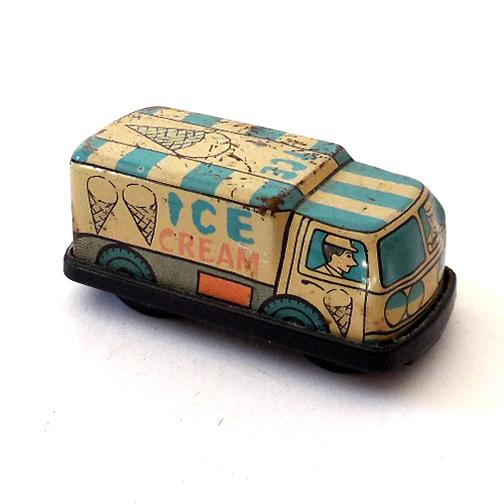 Small tin lithograph toy ice cream truck japan sold on ruby lane - Small tin girl ...