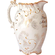 "Porcelain Award Presentation Pitcher ""Nurse Gruline"" Dated 1899"