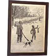 Early A.B. Frost Print Black Americana Rabbit Hunt