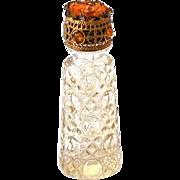Miniature Cut Glass Jeweled Irice Perfume Bottle Czechoslovakia