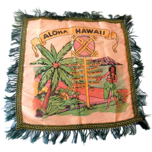 Vintage Hawaiian Islands Souvenir Satin Pillow Cover