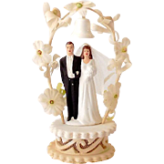 Pretty 1940s-50s Wedding Cake Topper Chalk Bride & Groom