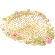 "Lovely Belleek Heart Shaped Basket ""Rose of Tralee"""