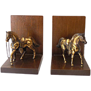 Vintage Bookends Wood With Metal Horses in Western Tack